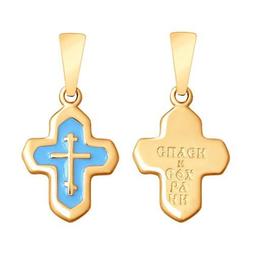 Крест из золочёного серебра с эмалью