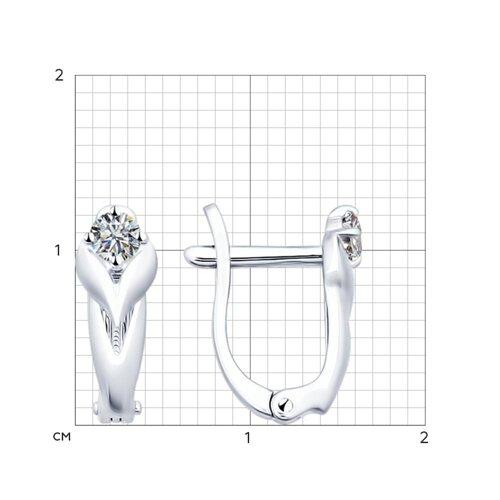 Серьги из серебра с фианитами (94021824) - фото №2
