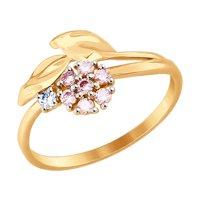 Кольцо из золота с бесцветным и розовыми фианитами