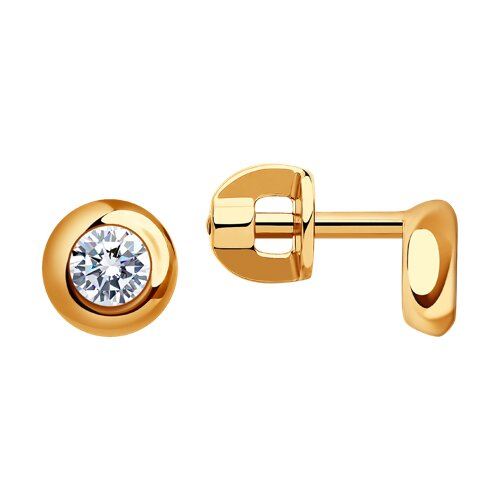 Серьги-пусеты из золота с фианитами (027240) - фото