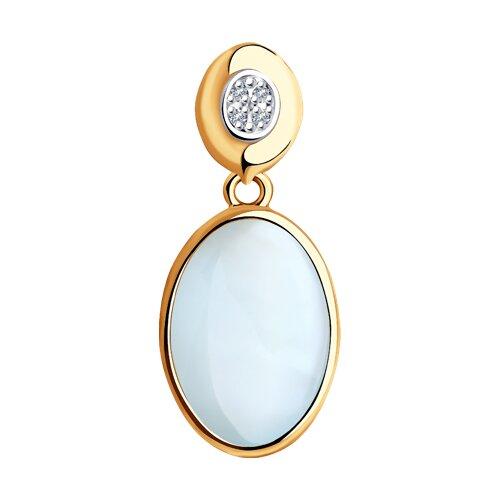 Подвеска из золота с бриллиантами и дуплетом из топаза и перламутра