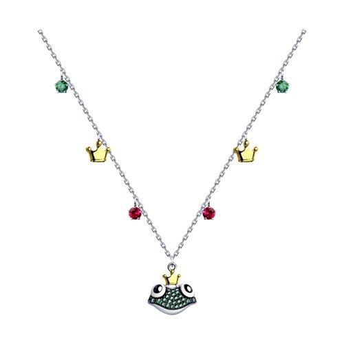 Колье из золочёного серебра с эмалью и красными корундами и фианитами