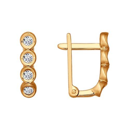 Серьги из золота с фианитами (026486) - фото
