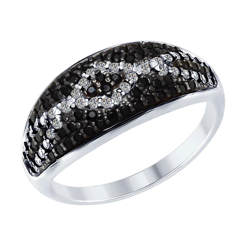 Кольцо SOKOLOV из серебра с бесцветными и чёрными фианитами золотое кольцо с чёрными и бесцветными фианитами sokolov