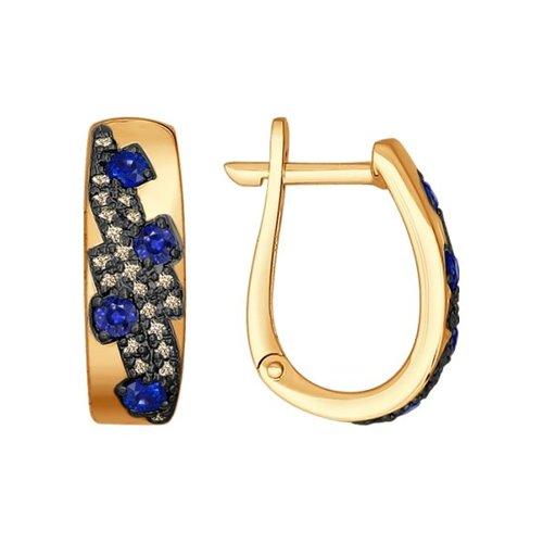 Серьги из золота с коньячными бриллиантами и сапфирами (2020767) - фото