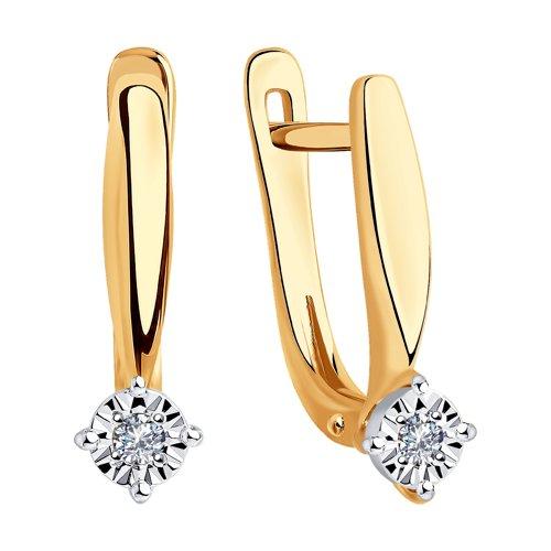 Серьги из комбинированного золота с бриллиантами (1021322) - фото №2