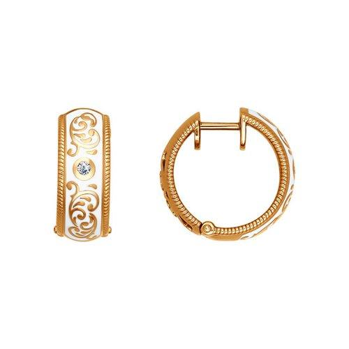Золотые сережки с эмалью SOKOLOV