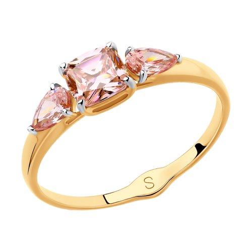 Кольцо из золота с розовыми Swarovski Zirconia (81010392) - фото