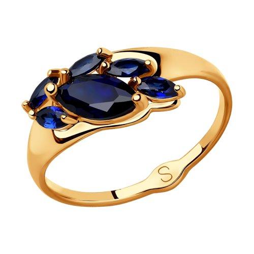 Кольцо из золота с синими корундами (синт.) (715201) - фото