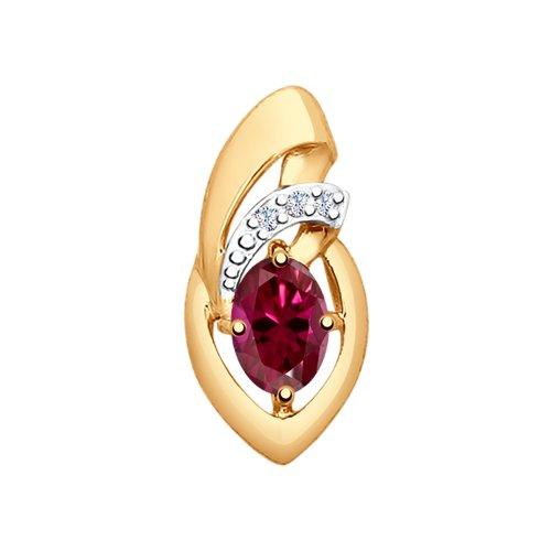 Подвеска из золота с бриллиантами и рубином (4030115) - фото