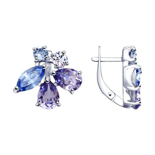Серьги из серебра с синими и сиреневыми кристаллами Swarovski 94023069