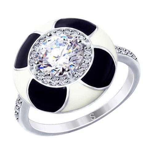 Кольцо из серебра с эмалью и фианитами (94012730) - фото