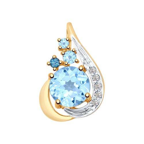 Подвеска из золота с голубыми и синим топазами и фианитами