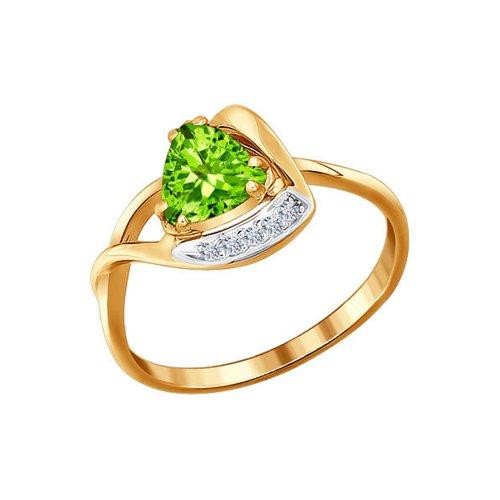 Кольцо SOKOLOV из золота с фианитами и хризолитом