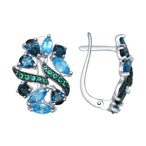 Серьги из серебра с голубыми и синими топазами и зелеными фианитами (92021550) - фото