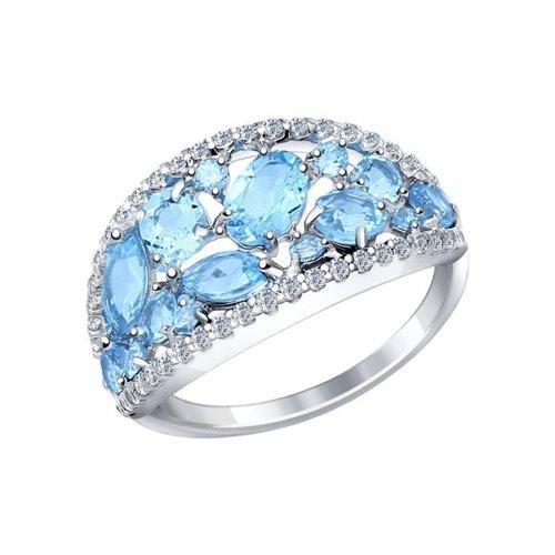 Кольцо из серебра с голубыми топазами и фианитами