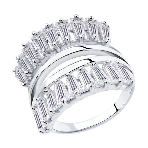 Кольцо из серебра с фианитами (94013107) - фото