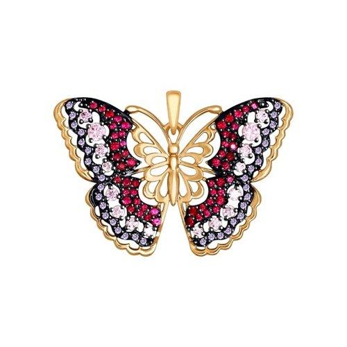 Фото - Золотая подвеска «Бабочка» с розовыми, красными и сиреневыми фианитами SOKOLOV подвеска sokolov из золота с розовыми сиреневыми и красными фианитами