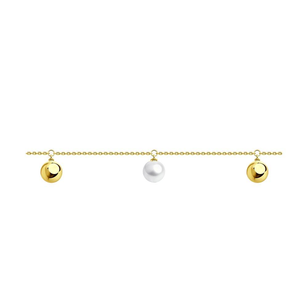 Браслет SOKOLOV из желтого золота с жемчугом браслет из золота с жемчугом