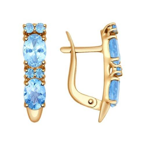 Серьги из золота с топазами и голубыми фианитами
