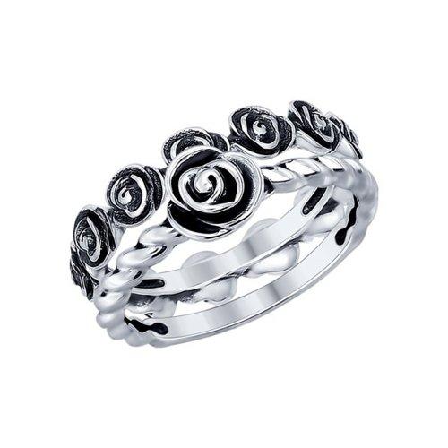 Кольцо из чернёного серебра (95010082) - фото