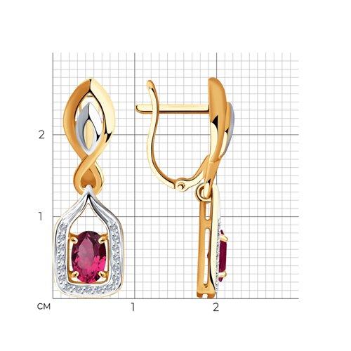 Серьги из золота с бриллиантами и рубинами 4020405 SOKOLOV фото 2