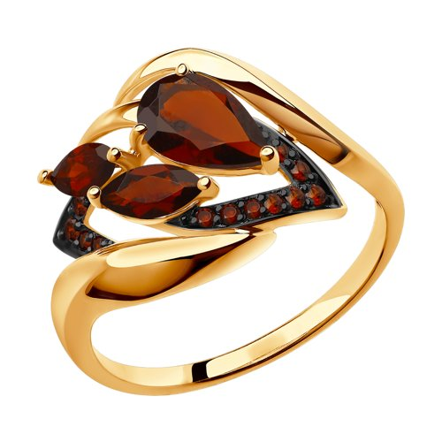 Кольцо из золота с гранатами и красными фианитами, 585 проба