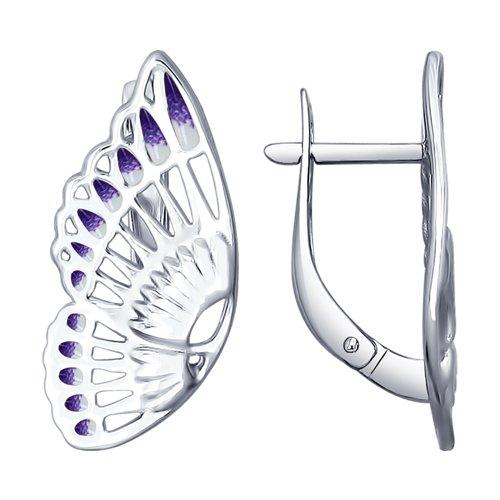 Серьги в виде бабочек из серебра (94022540) - фото