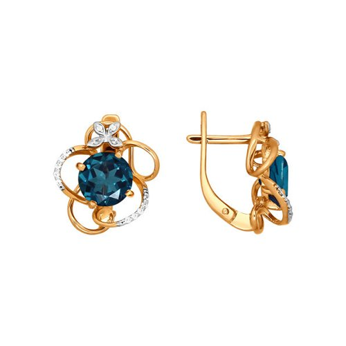 Золотые серьги с топазом london blue SOKOLOV