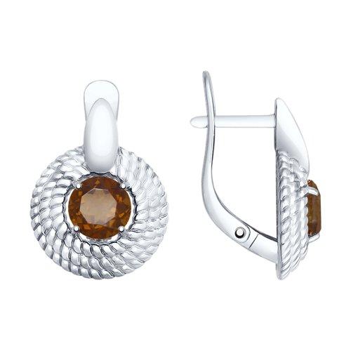 Серьги из серебра с раухтопазами (92021740) - фото