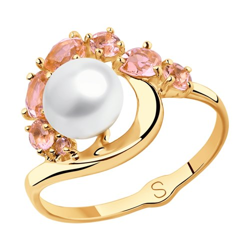 Кольцо из золота с жемчугом и розовыми ситаллами (791105) - фото