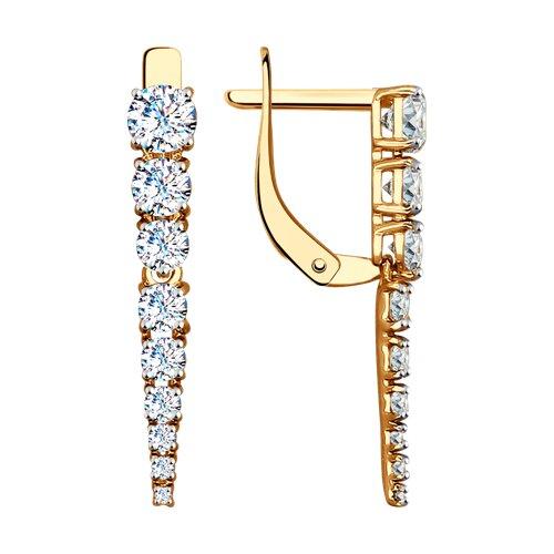 Серьги длинные из золота с фианитами (027539) - фото
