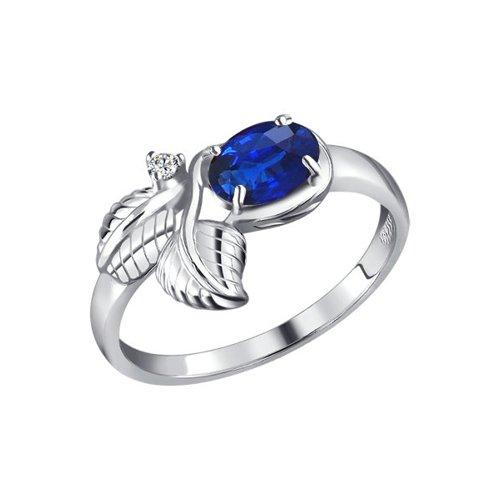 цена на Серебряное кольцо с фианитом синего цвета SOKOLOV