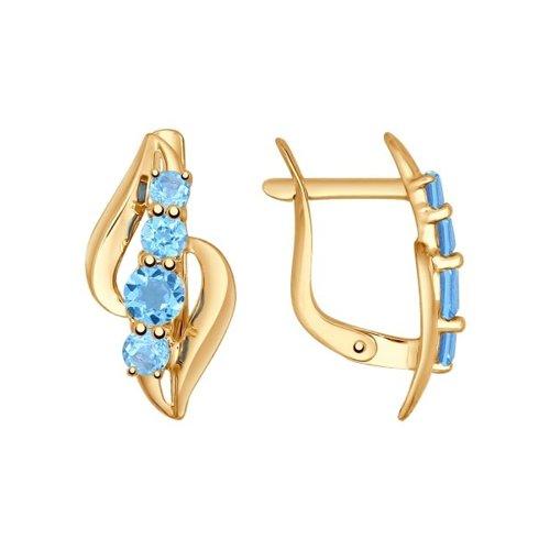 Серьги из золота с голубыми топазами (724720) - фото