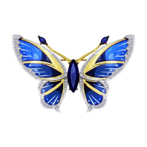 Брошь из комбинированного золота с бриллиантами и синими корунд (синт.)