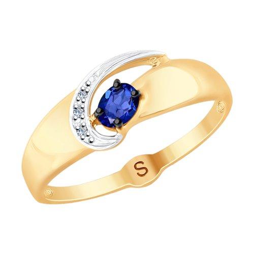 Кольцо из золота с бриллиантами и синим корундом (синт.) (6012111) - фото