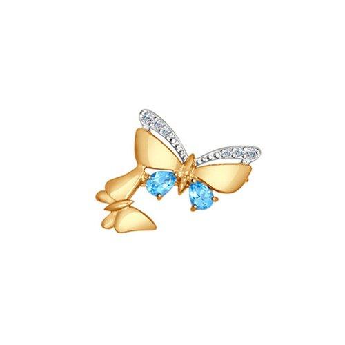 Брошь из золота с голубыми топазами и фианитами