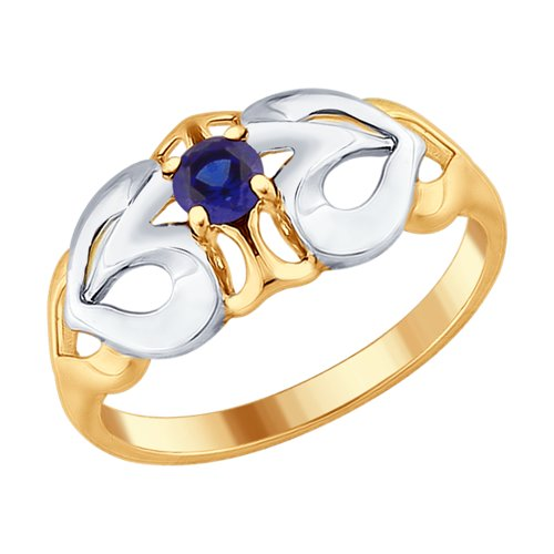 Кольцо из золочёного серебра с синим корундом (синт.) (88010043) - фото