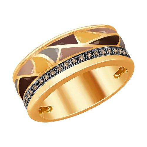 Кольцо из золота с эмалью и коньячными бриллиантами (1011755) - фото