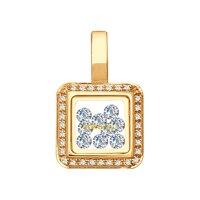 Золотая подвеска с фианитами и минеральным стеклом