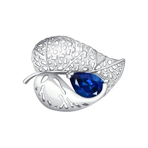 Брошь в форме листка SOKOLOV из серебра с синим фианитом брошь в форме листка sokolov из белого золота