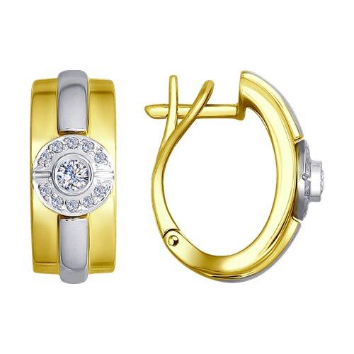 Серьги из комбинированного золота с бриллиантами (1021160-2) - фото