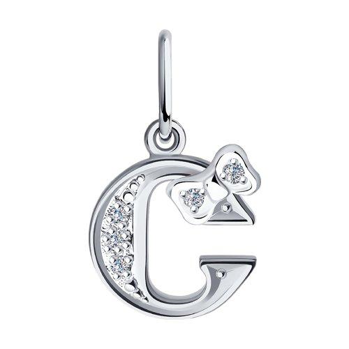Серебряная подвеска-буква «С» (94030480) - фото