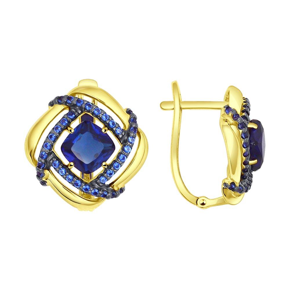 Фото - Серьги SOKOLOV из желтого золота с синими корунд (синт.) и синими фианитами кольцо sokolov из желтого золота с синими корунд синт синим опалом и зелеными и синими фианитами