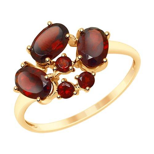 Кольцо из золота с гранатами (715187) - фото