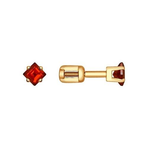 Серьги-пусеты из золота с гранатом