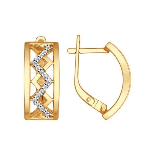 Серьги из золочёного серебра с фианитами (93020700) - фото