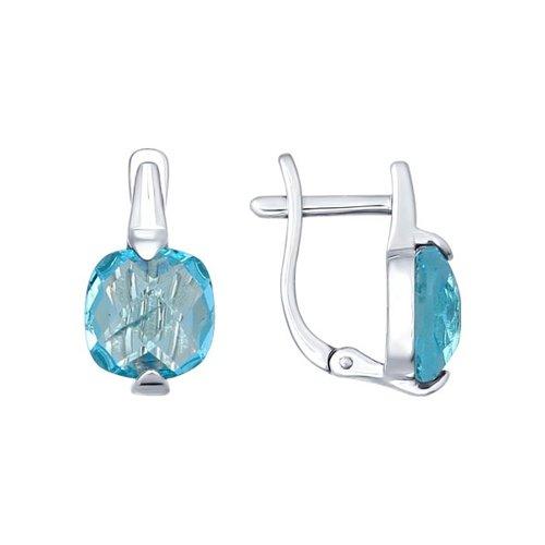 Серьги SOKOLOV из серебра с голубыми стеклянными вставками