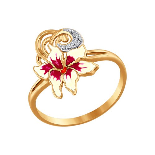 Золотое кольцо с эмалью SOKOLOV золотое кольцо ювелирное изделие 01k673222