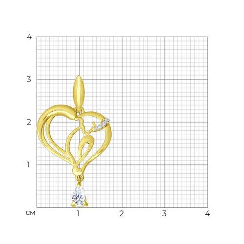 Подвеска из желтого золота с фианитами (034805-2) - фото №2